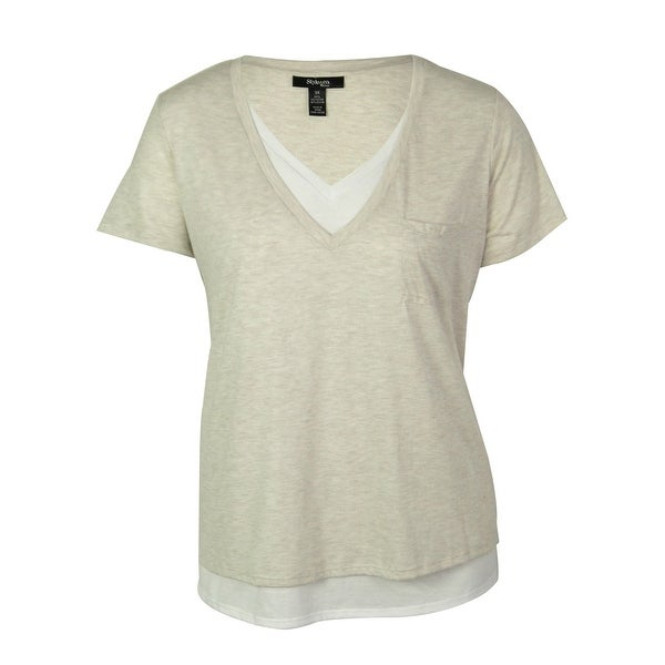 Style & Co. Women's Pocketed Faux Double Layer Top