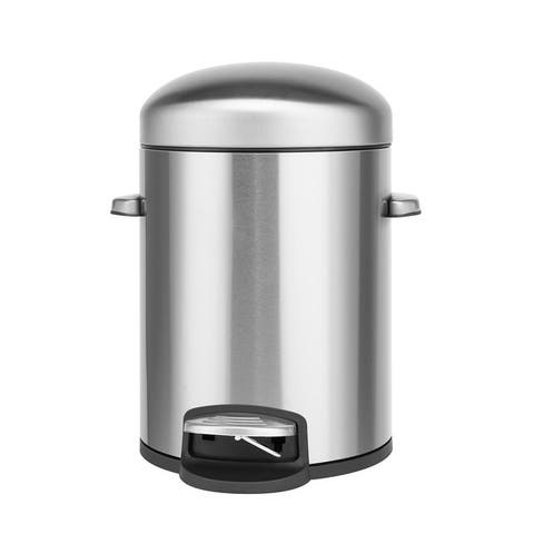 Innovaze 1.32 Gallon Stainless Steel Round Step-on Bathroom and Office Trash Can