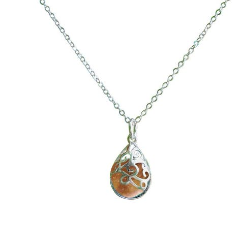 Recycled Antique Pink Depression Glass and Sterling Silver Filigree Teardrop Necklace