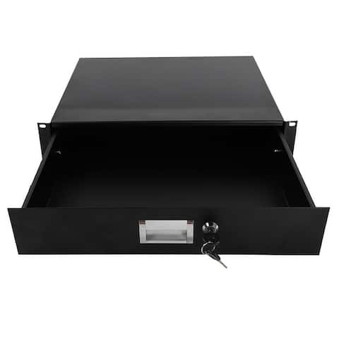 "19"" 2U Steel Plate DJ Drawer Equipment Cabinet with Keys Black - Attribute: Exact Color Value 1 - Attribute: Exact Color Value 1"