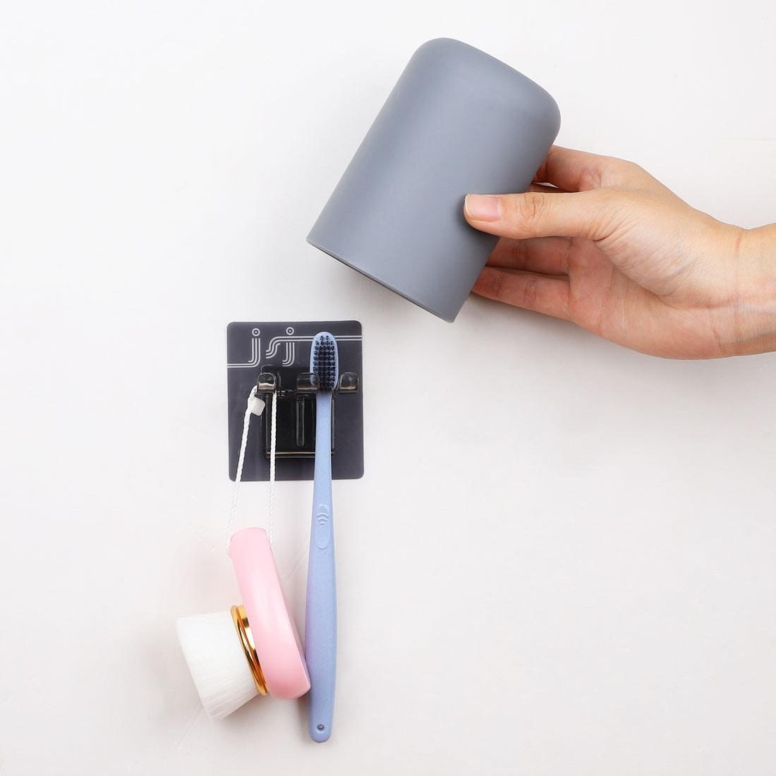 Shop Toothbrush Holder Wall Mount Anti Dust Toothbrush Washing Storage Set 2 8 X 4 1 Overstock 28386662 Light Grey