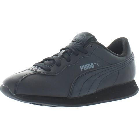 Puma Girls Turin II Jr Fashion Sneakers Faux Leather Lifestyle - Puma Black/Puma Black - 4.5 Wide (C,D,W) Big Kid
