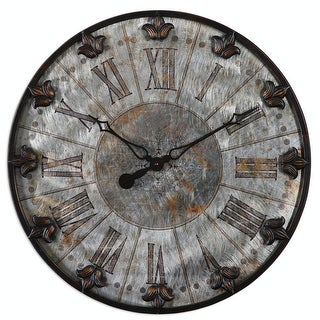"""24"""" Grecian Lily Brushed Aluminum Wall Clock with Oil Rubbed Bronze Details"""