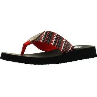 Yellow Box Womens Paige Chevron Print Wedge Flip Flop Sandals