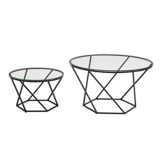 Delacora WE-BDF28CLRGG  Two Piece Glass Top Metal Accent Table