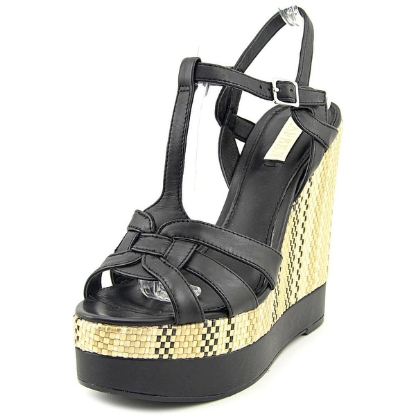 Lauren Ralph Lauren Maeva Women Open Toe Leather Black Wedge Sandal