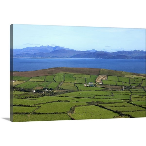 """Pastoral Countyside Overlooking Dingle Bay and the Distant Ring of Kerry, Ireland"" Canvas Wall Art"