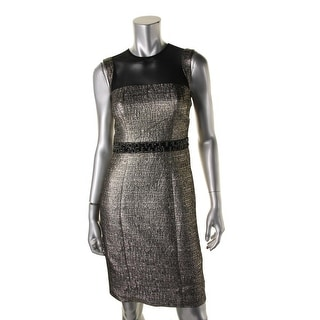 Carmen Marc Valvo Womens Metallic Mesh Yoke Cocktail Dress