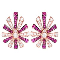 Prism Jewel 0.54CT Pink Ruby Gemstone with Natural Diamond Pear Shape Flower Earring