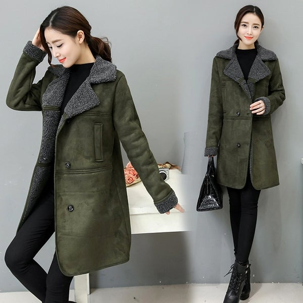 shop fashion women lapel solid color long sleeve thicken. Black Bedroom Furniture Sets. Home Design Ideas