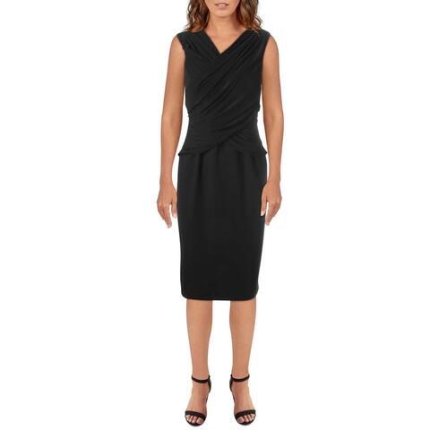 T Tahari Womens Sheath Dress Ruched Cocktail - Black