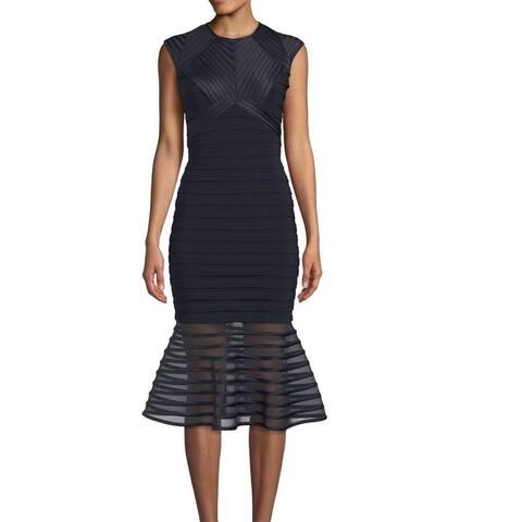 Betsy & Adam Women's Dress Blue Black Size 6 Sheath Mesh Mermaid Hem