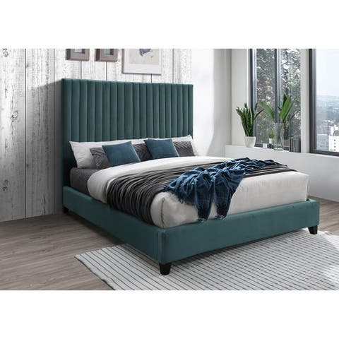 Dobri Channel Tufted Velvet Upholstered Bedframe with High Headboard (Gray/ Teal)