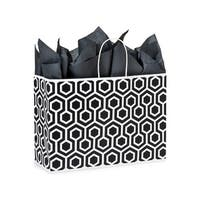"Pack Of 250, Vogue 16 x 6 x 12"" Black Geo Graphics Recycled Paper Shopping Bag W/White Paper Twist Handles"