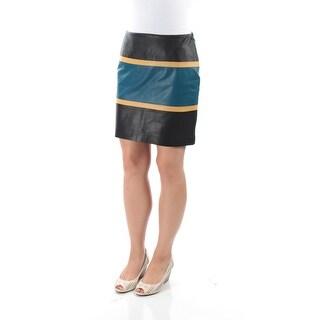 ANNE KLEIN Womens Black Striped Mini A-Line Evening Skirt Size: 8