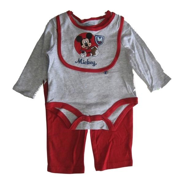 Disney Baby Boys Red Grey Mickey Mouse Bib Bodysuit 3 Pc Pant Set 0-9M