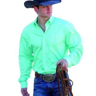 Cinch Western Shirt Mens L/S Square Pocket Logo 3XL Green