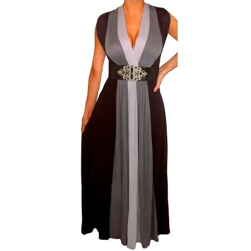 Funfash Plus Size Women's Gray Black Belt Long Maxi Dress Made in USA