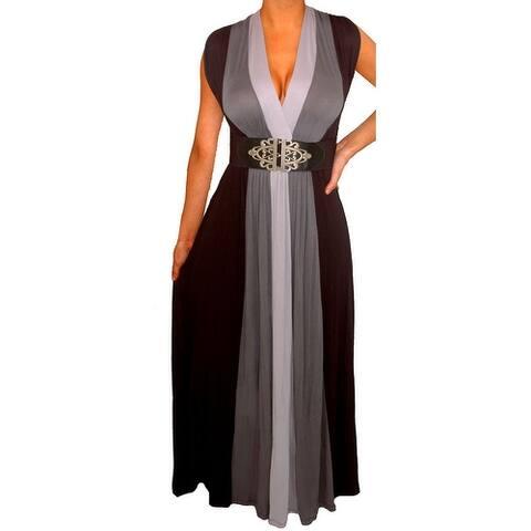 Funfash Plus Size Women's Gray Black Belt Long Maxi Dress Made in USA