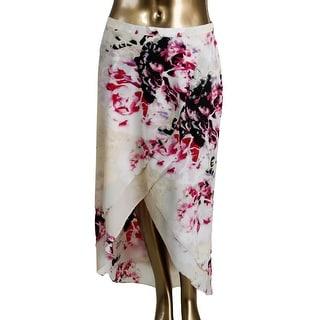 DKNYC Womens Floral Print Faux Wrap Maxi Skirt