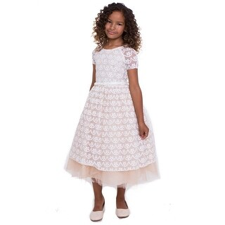 Girls Champagne Ivory Lace Leah Junior Bridesmaid Dress