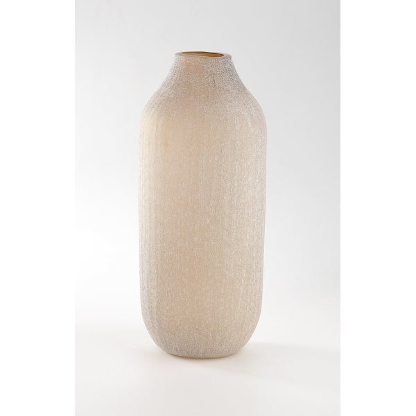"""14"""" Cream Rustic Weathered Hand Blown Glass Vase - N/A"""