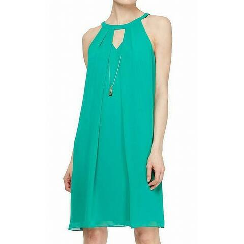 SLNY Women's Necklace Dress Solid Cool Green Size 6 Shift Trapeze