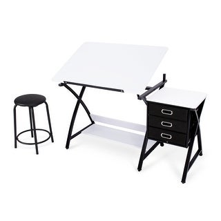 BELLEZE 3-Piece Adjustable Tabletop and Stool w/ 3 Storage Drawers and Under Shelf, White
