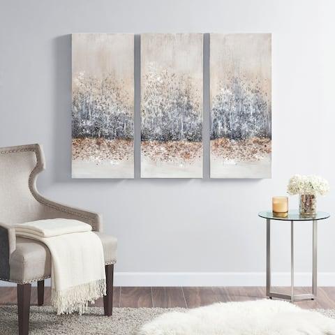 Madison Park 'Twilight Mystere' Hand-brush Embellished Canvas Triptych - blush/ grey