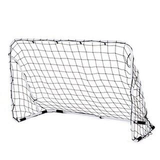 Costway 6' x 4' Steel Football Soccer Goal Net Gate Backyard Outdoor Sports Weatherproof - white gate frame, black net.