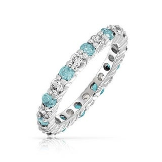 Bling Jewelry 925 Sterling Silver Simulated Aquamarine CZ Eternity Ring - Blue