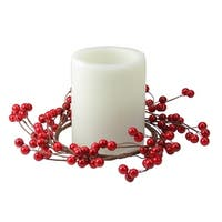 Shiny Red Berries Artificial Christmas Candle Holder Ring, 9-Inch