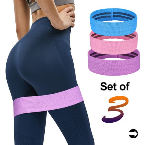 Odoland Resistance Bands Fabric Fitness Yoga Hip Butt Anti-Slip Exercise Loop Band