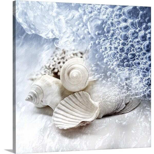 Premium Thick-Wrap Canvas entitled Seashells washed ashore - Multi-color