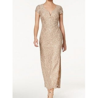 Connected Apparel Womens Petite Sequin Lace Gown Dress