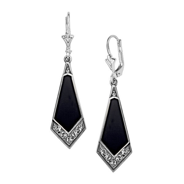 Van Kempen Art Deco Drop Earrings with Swarovski Elements Crystal in Sterling Silver - White
