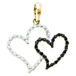 Twin Heart 10k Yellow Gold Black and White Diamonds By MidwestJewellery