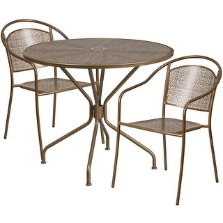Westbury 3pcs Round 35.25'' Gold Steel Table w/2 Round Back Chairs