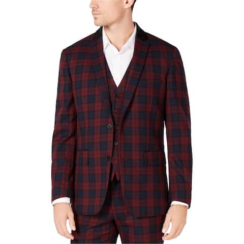 I-N-C Mens Tartan Two Button Blazer Jacket