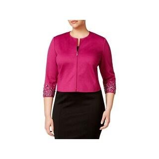 Anne Klein Womens Plus Jacket Ponte Embellished