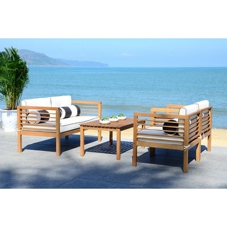 Shop Safavieh Outdoor Living Cushioned Brown Acacia Wood 4 ... on Safavieh Outdoor Living Montez 4 Piece Set id=62062