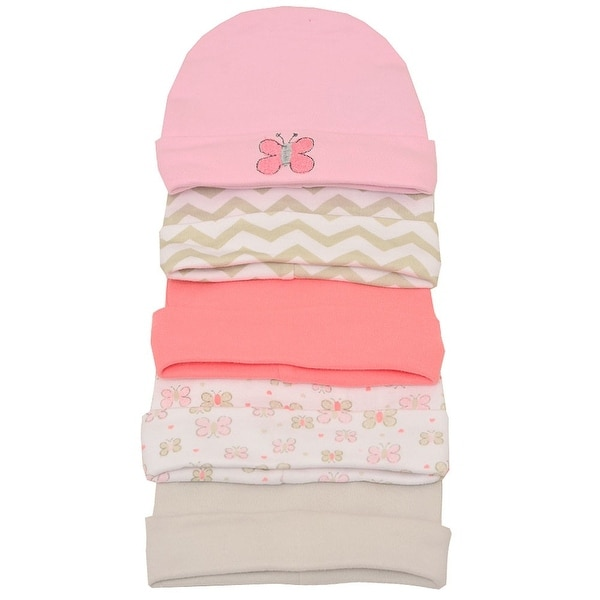 Little Beginnings Baby Girls Pink Cream Butterfly Chevron 5 Pc Cap Set