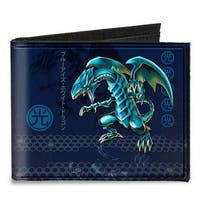 Blue Eyes White Dragon Pose Light Kanji + Blue Eyes White Dragon Honeycomb Canvas Bi-Fold Wallet One Size - One Size Fits most