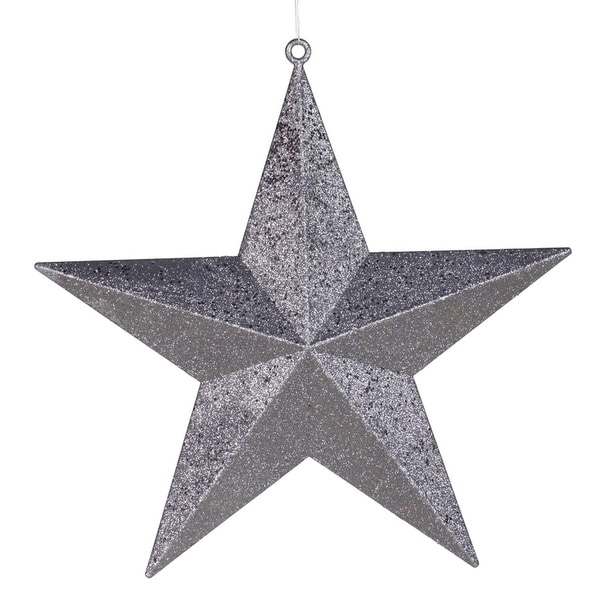 """23"""" Commercial Size Pewter-colored Glitter 5-Pointed Star Christmas Ornament - silver"""