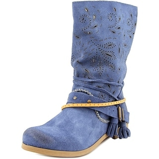 Coolway Nimfa Women Round Toe Suede Mid Calf Boot