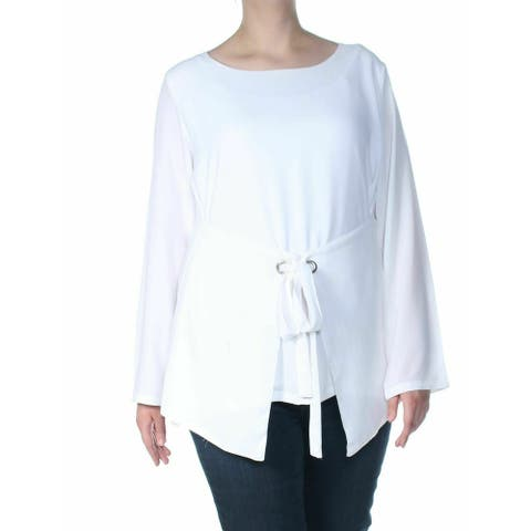 Verona Womens Blouse Bright White Size Medium M Tie Belt Long Sleeve