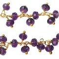 Vermeil Gold Wire Wrapped Dangle Chain, 3.5mm Glass Rondelles, 1 Inch, Purple - Thumbnail 0