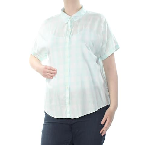 LEVI'S Womens Green Plaid Short Sleeve Collared Button Up Top Size: XL
