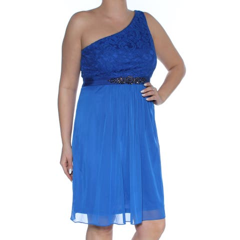 ADRIANNA PAPELL Womens Blue Sheer Sleeveless Asymmetrical Neckline Above The Knee Fit + Flare Party Dress Size: 12