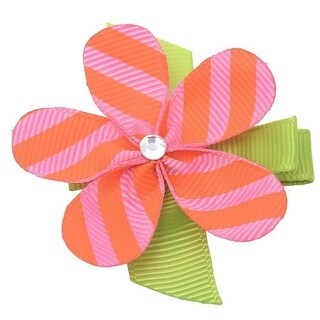 Girls Orange Pink Striped Grosgrain Petaled Flower Alligator Hair Clippie